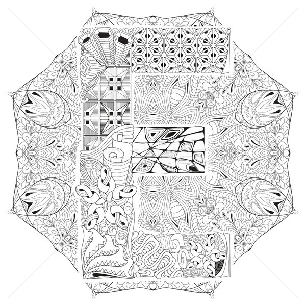 Mandala with letter E for coloring. Vector decorative zentangle Stock photo © Natalia_1947