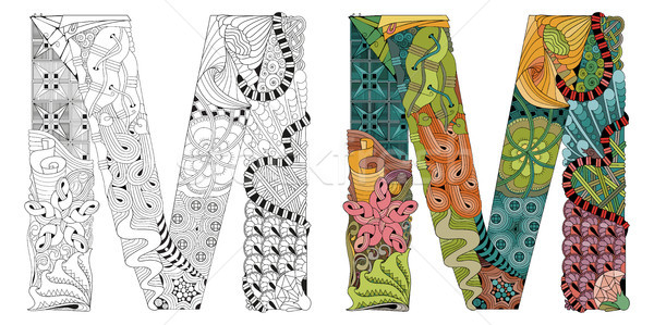 Letter M zentangle for coloring. Vector decorative object Stock photo © Natalia_1947