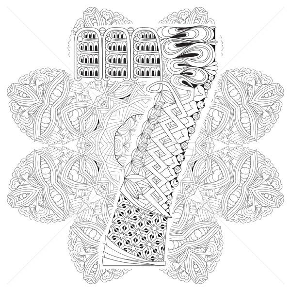 Mandala siete vector decorativo arte diseno Foto stock © Natalia_1947