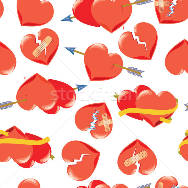 Kalpler kırmızı valentine gün oklar Stok fotoğraf © Natalia_1947