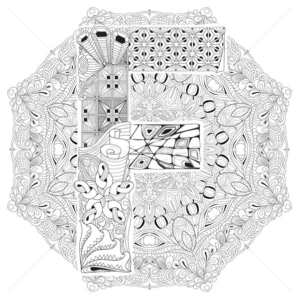 Mandala with letter F for coloring. Vector decorative zentangle Stock photo © Natalia_1947