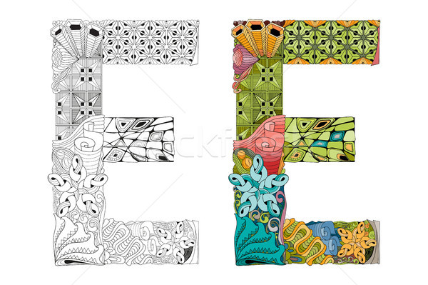 Letter E zentangle for coloring. Vector decorative object Stock photo © Natalia_1947