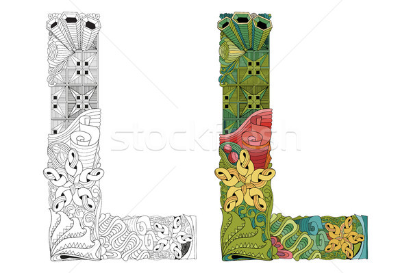 Letter L zentangle for coloring. Vector decorative object Stock photo © Natalia_1947