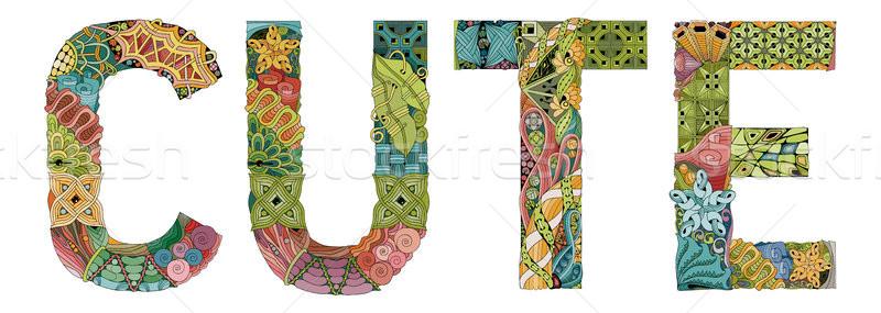 слово Cute вектора декоративный объект искусства Сток-фото © Natalia_1947