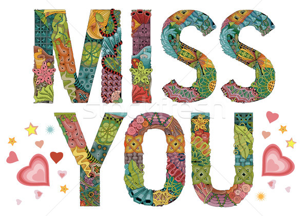 Word miss you. Vector decorative zentangle object Stock photo © Natalia_1947