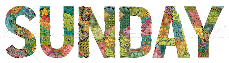 Word SUNDAY. Vector decorative zentangle object Stock photo © Natalia_1947