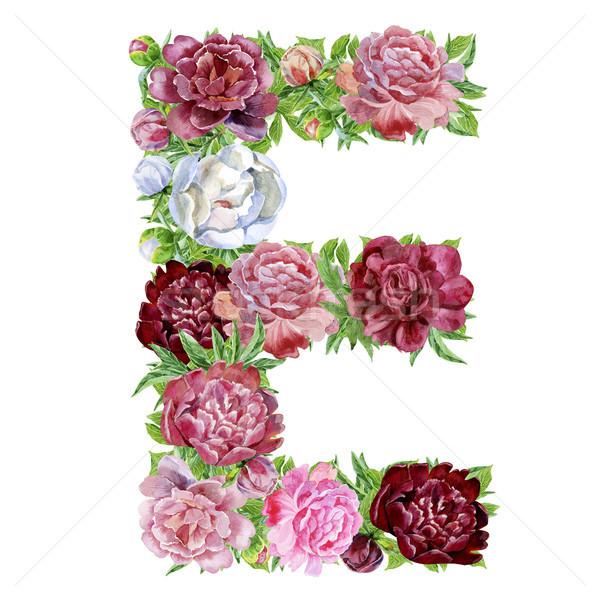Letter E of watercolor flowers Stock photo © Natalia_1947