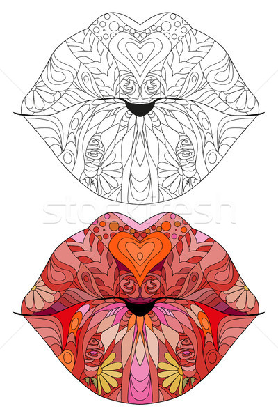 Zentangle stylized lips. Hand Drawn lace vector illustration Stock photo © Natalia_1947