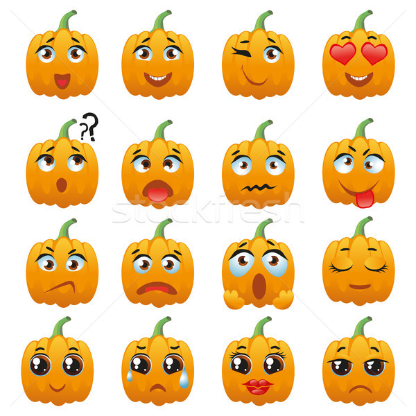 Halloween Pumpkin Character Emoji Vector Collection Stock photo © Natalia_1947
