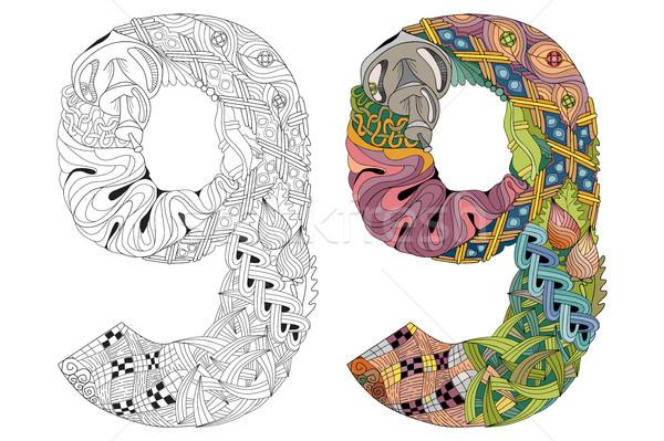 Aantal negen vector decoratief object kunst Stockfoto © Natalia_1947