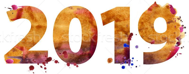 Acuarela año nuevo número aislado blanco papel Foto stock © Natalia_1947