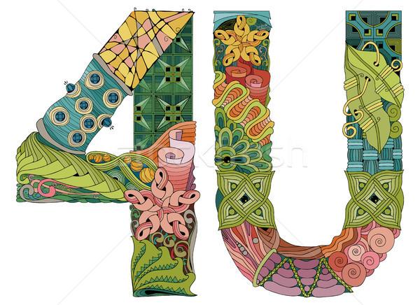 4U, for U. Vector decorative zentangle object Stock photo © Natalia_1947