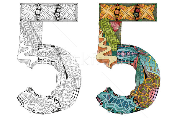 Number five zentangle for coloring. Vector decorative object Stock photo © Natalia_1947