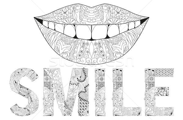 Kelime gülümseme siluet dudaklar vektör dekoratif Stok fotoğraf © Natalia_1947