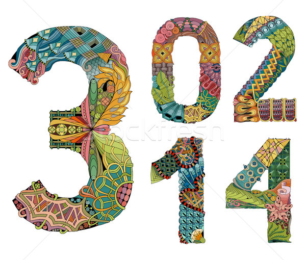 Set of numbers zero, one, two, three, four Zentangle. Vector decorative objects Stock photo © Natalia_1947