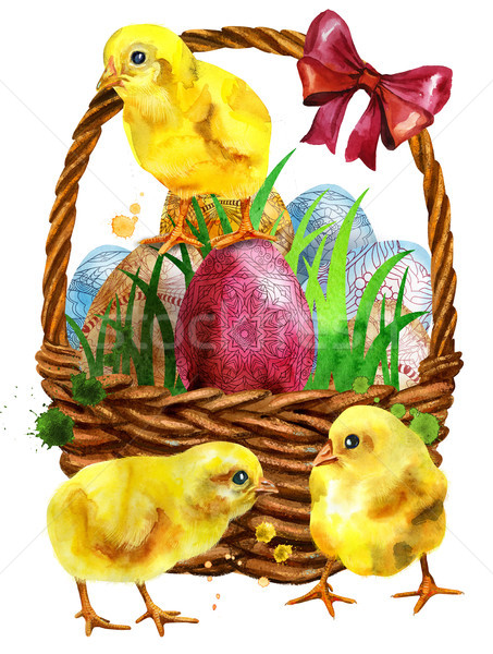 Watercolor illustration of yellow chickens and easter basket Stock photo © Natalia_1947