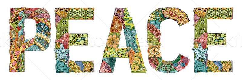 Palabra paz vector decorativo objeto arte Foto stock © Natalia_1947