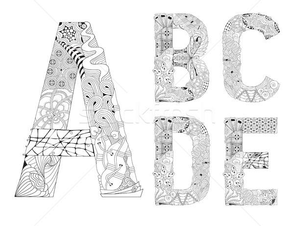 Niezwykły alfabet gryzmolić stylu litery biały Zdjęcia stock © Natalia_1947