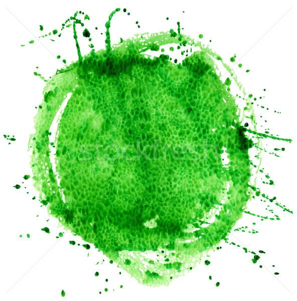 Foto stock: Acuarela · verde · círculo · aislado · blanco · textura