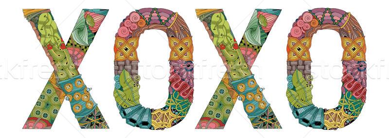 Word XOXO. Vector decorative zentangle object Stock photo © Natalia_1947
