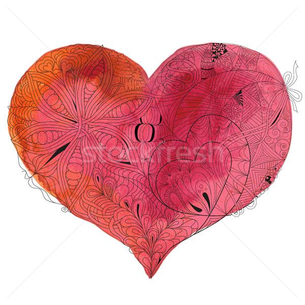 Vázlatos firka szív illusztráció vízfesték rajz Stock fotó © Natalia_1947