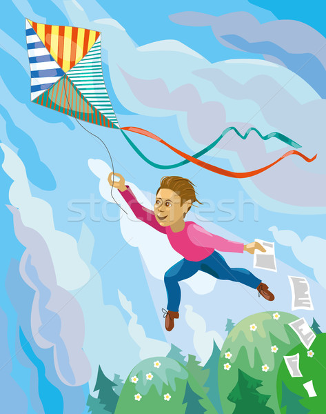 Guy is launching a kite Stock photo © Natalia_1947