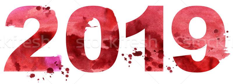 Foto stock: Acuarela · año · nuevo · número · aislado · blanco · papel