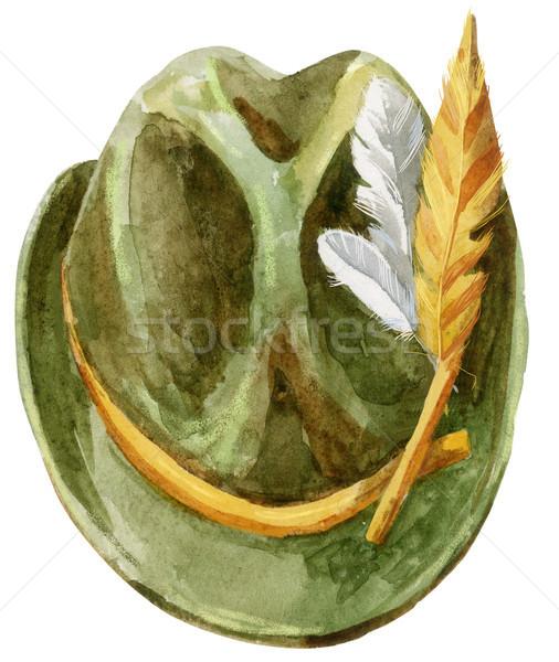 Verde pălărie oktoberfest acuarela ilustrare Imagine de stoc © Natalia_1947