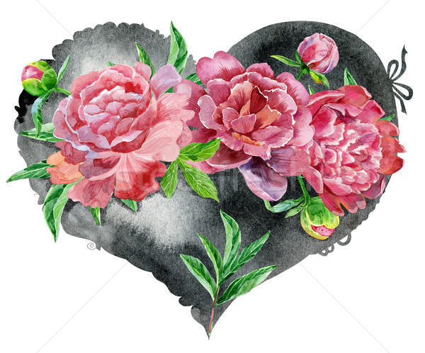 watercolor black heart with red peonies Stock photo © Natalia_1947