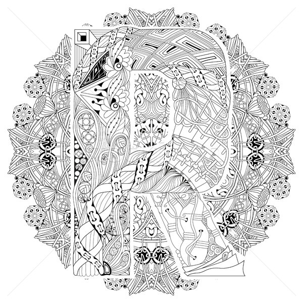 Mandala letra r vector decorativo arte diseno Foto stock © Natalia_1947