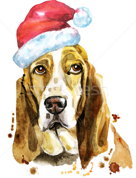 Watercolor portrait of basset hound with Santa hat Stock photo © Natalia_1947