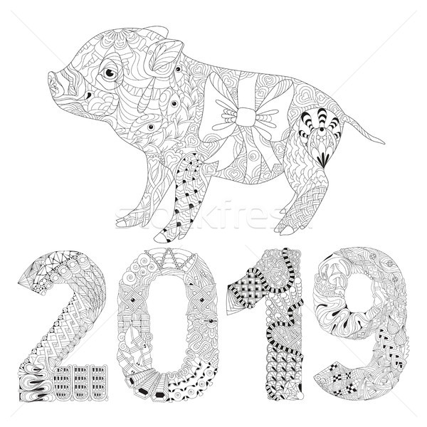 Piggy coloring book with number 2019 for adults vector Stock photo © Natalia_1947