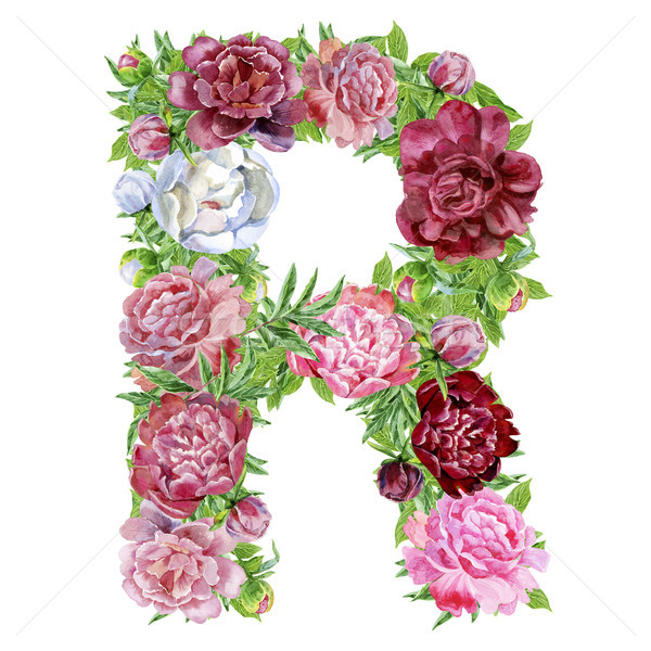Stock photo: Letter R of watercolor flowers