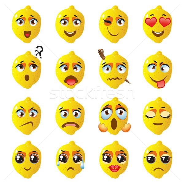 Foto stock: Limão · emoticon · engraçado · bonitinho · comida · conjunto