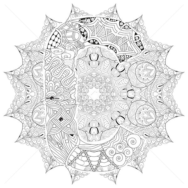 Mandala with letter C for coloring. Vector decorative zentangle Stock photo © Natalia_1947