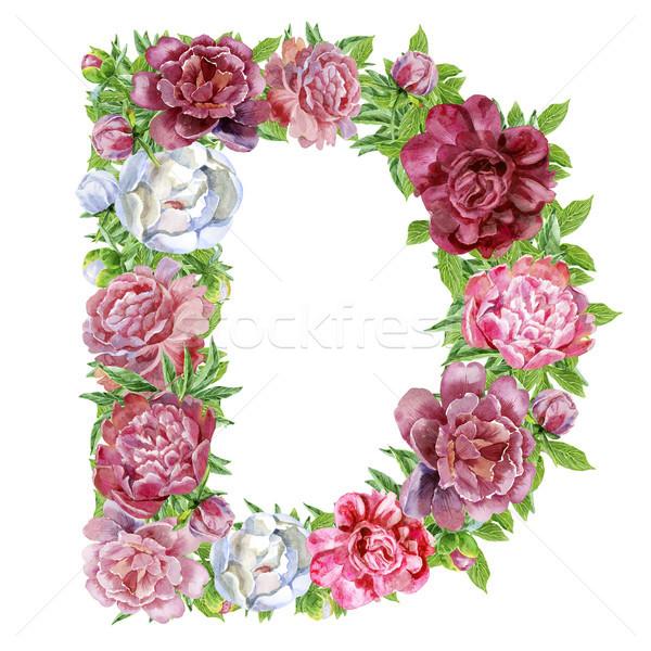 Сток-фото: буква · d · акварель · цветы · изолированный · рисованной · белый