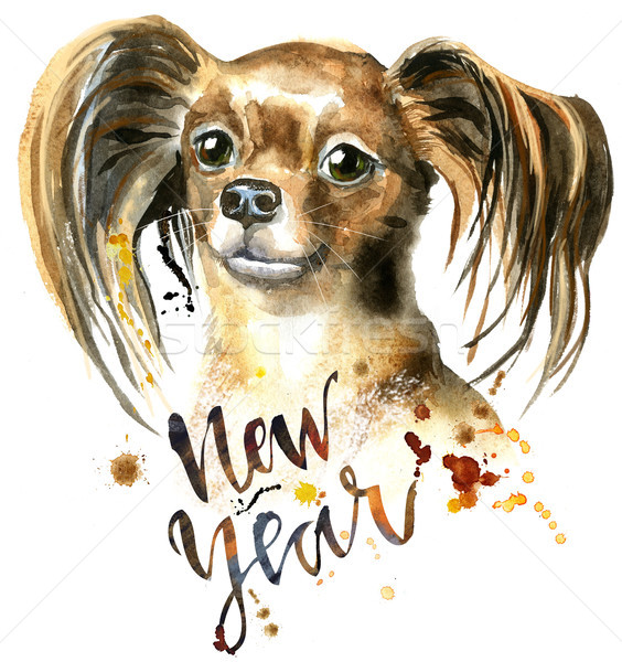 Watercolor portrait of long-haired toy terrier Stock photo © Natalia_1947