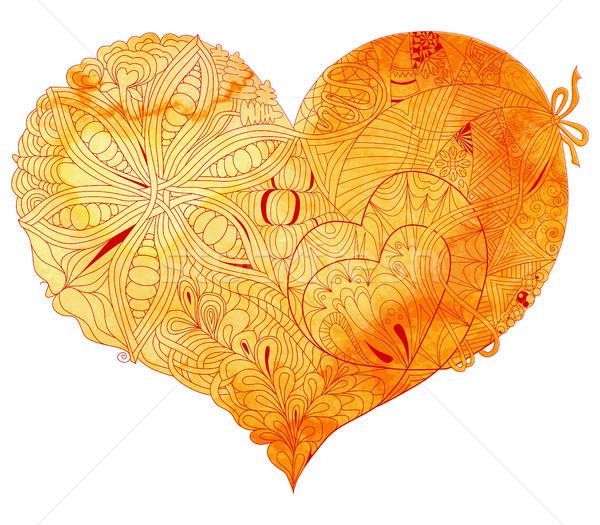 Stok fotoğraf: Karalama · sarı · kalp · örnek · suluboya
