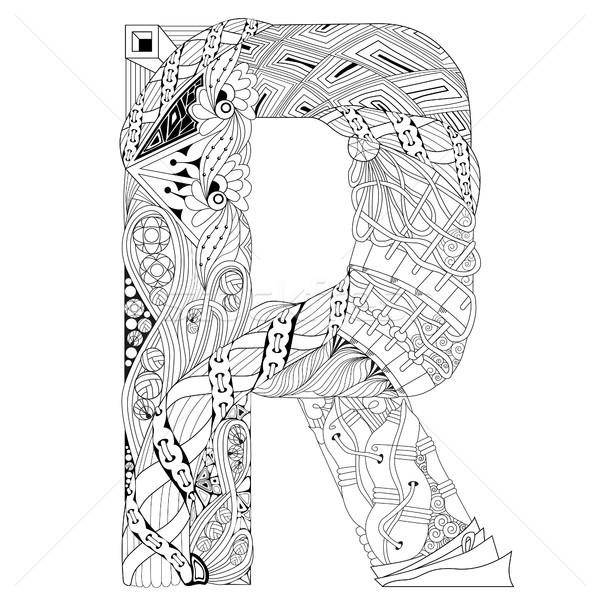 Letter R for coloring. Vector decorative zentangle object Stock photo © Natalia_1947