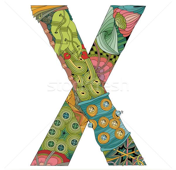Letter X zentangle. Vector decorative object Stock photo © Natalia_1947