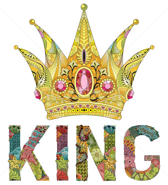 Zentangle stylized crown with word king. Hand Drawn lace vector illustration Stock photo © Natalia_1947