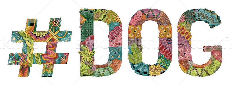 Word DOG with hashtag. Vector decorative zentangle object Stock photo © Natalia_1947