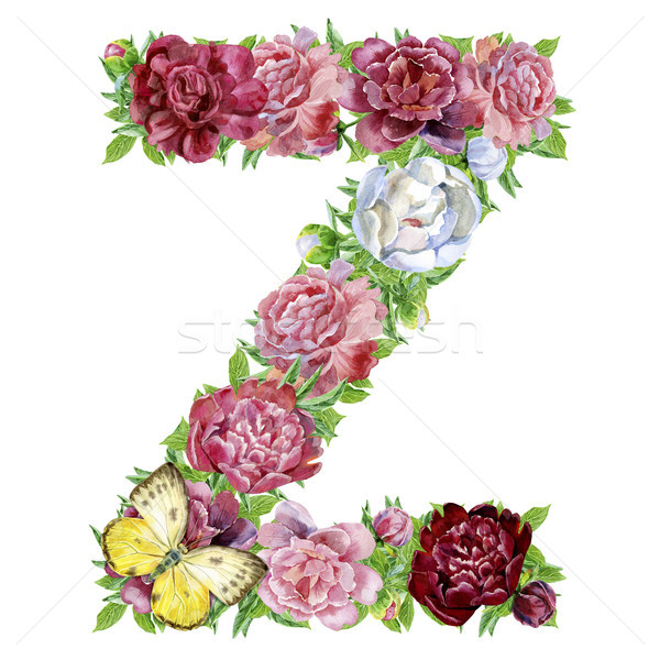 Letter Z of watercolor flowers Stock photo © Natalia_1947