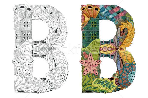 Letter B zentangle for coloring. Vector decorative object Stock photo © Natalia_1947
