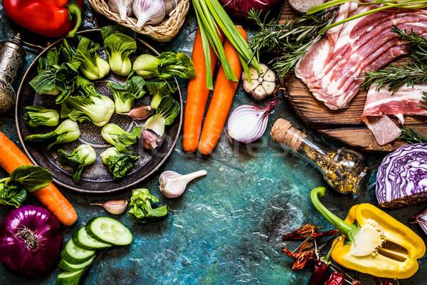 Vegetali ingredienti carne cottura piatti rustico Foto d'archivio © Natalya_Maiorova