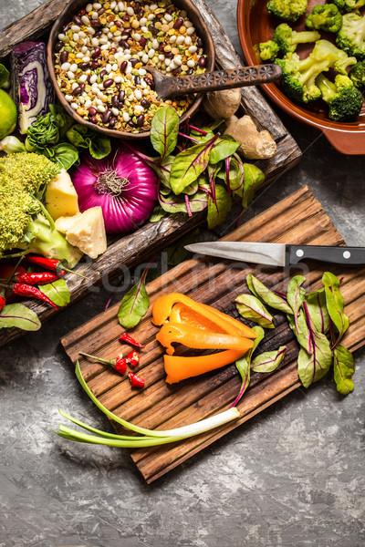 свежие фрукты овощей злаки орехи Ингредиенты Сток-фото © Natalya_Maiorova