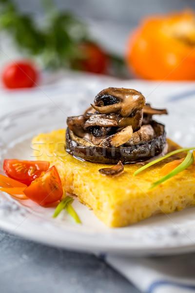 Kukorica pörkölt gombák padlizsán hagyományos olasz étel Stock fotó © Natalya_Maiorova