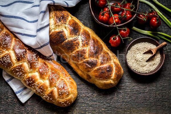 Ekmek bayram ahşap karanlık gıda pişirme Stok fotoğraf © Natalya_Maiorova