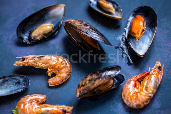 Frutti di mare shell gamberetti blu grill Foto d'archivio © Natalya_Maiorova