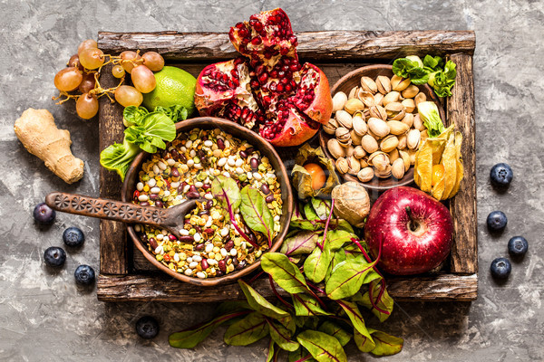fresh fruit, vegetables, cereals, nuts and greens, the ingredients for a healthy lifestyle, healthy  Stock photo © Natalya_Maiorova
